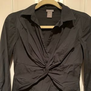 Ann Taylor button down knot front top